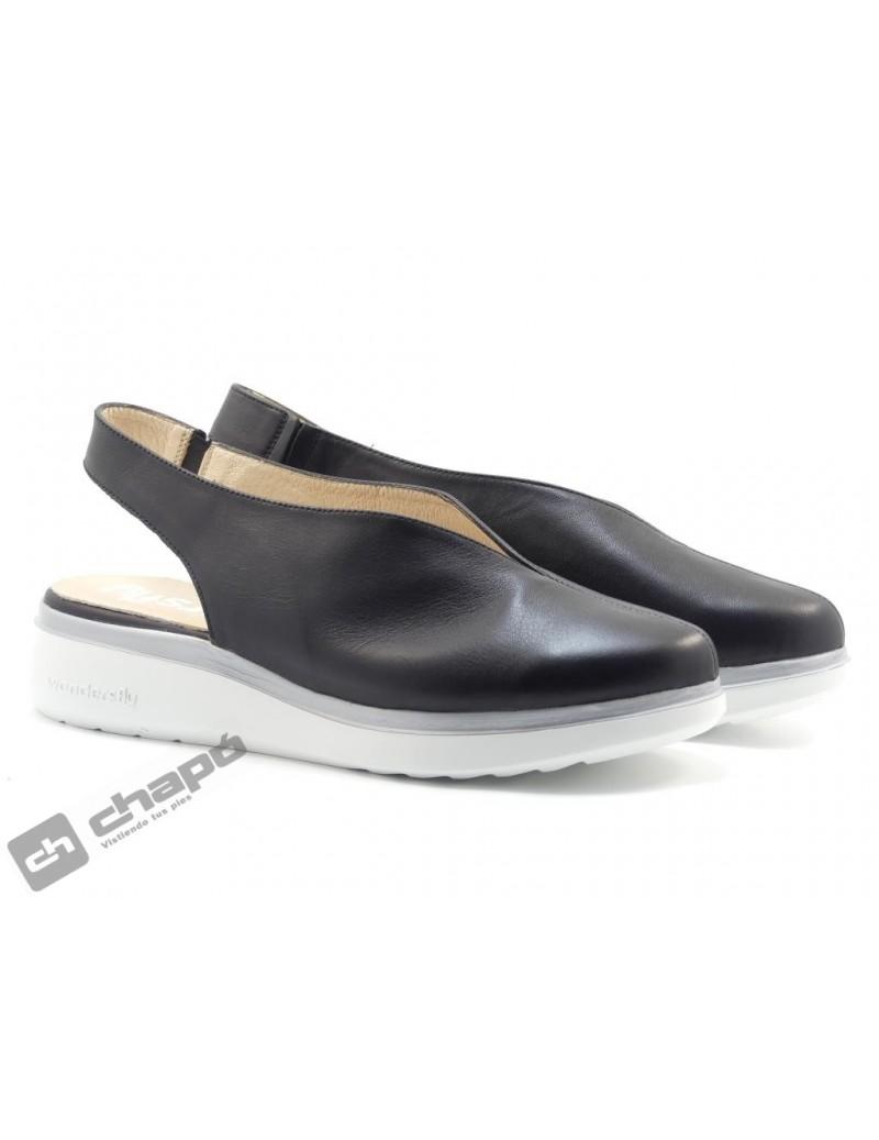 Mules Negro Zapatos Wonders A-9705