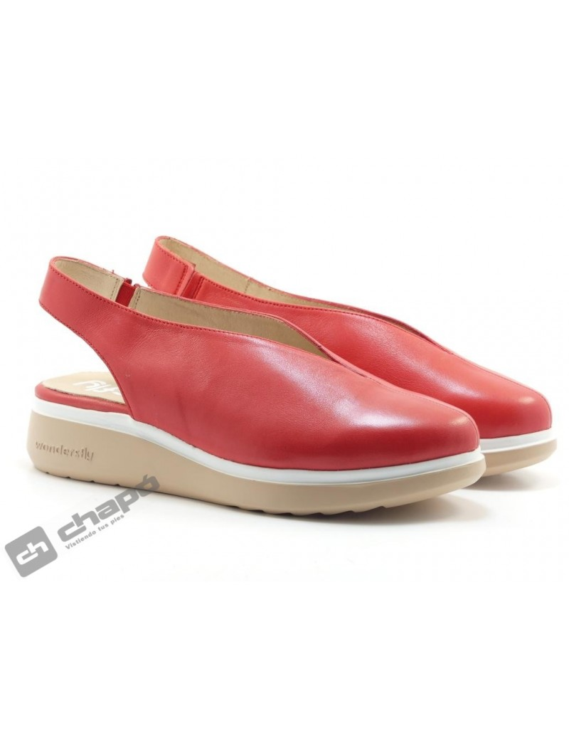 Mules Rojo Zapatos Wonders A-9705