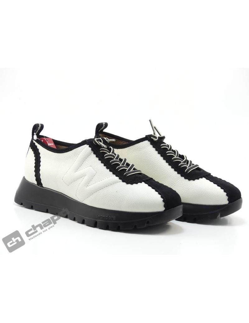 Sneakers Blanco/negro Zapatos Wonders A-2410